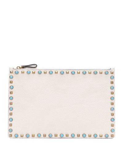 Rolling Rockstud Large Pouch Bag, Ivory