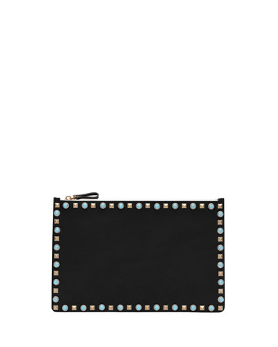 Rolling Rockstud Cabochon Leather Clutch Bag, Black