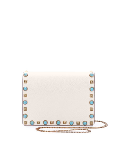 Rolling Rockstud Flap Pouch Bag/Wallet-on-Chain, White