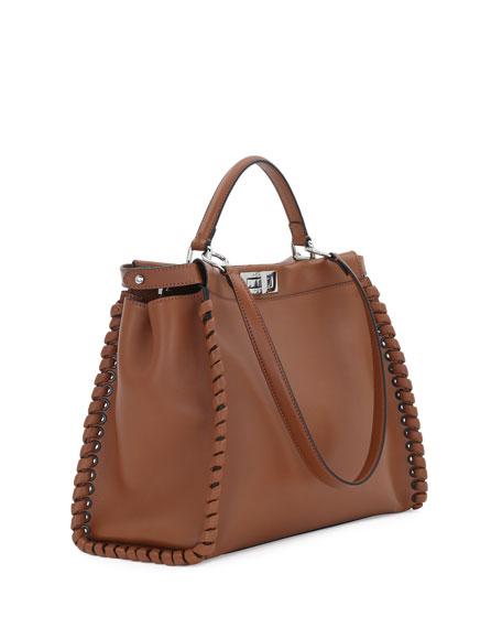 755bb7cb9033bf Fendi Peekaboo Large Lace-Up Calf Leather Satchel Bag, Bark/Palladium