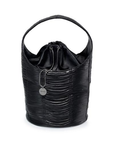 Miranda Ruched Leather Hobo Bag, Black