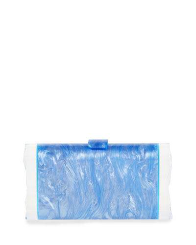 Lara Backlit Resin Clutch Bag, Light Blue
