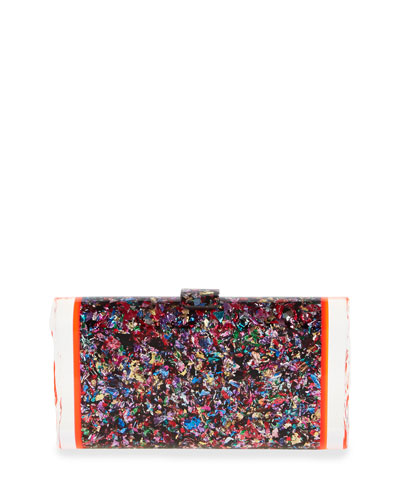 Lara Confetti Acrylic Backlit Clutch Bag, Multi