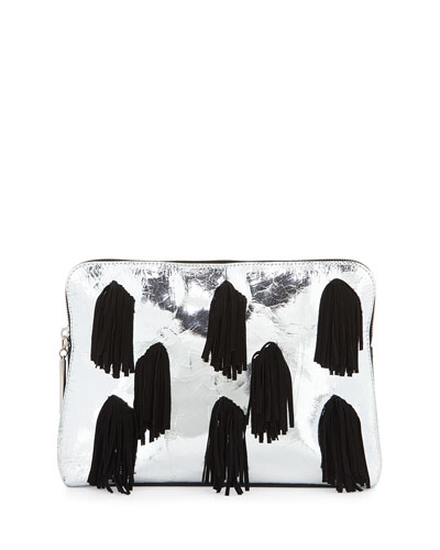 31 Minute Metallic Fringe Cosmetics Pouch, Silver/Black