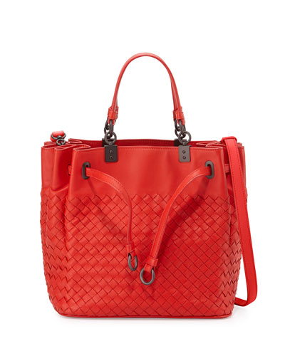 Woven Intrecciato Pleated Tote Bag, Vesuvio Red