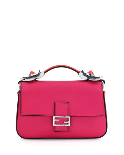 Baguette Micro Double-Sided Tricolor Bag, White/Poppy/Fuchsia