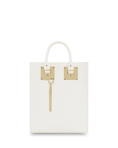 Mini Albion North-South Tote Bag, White