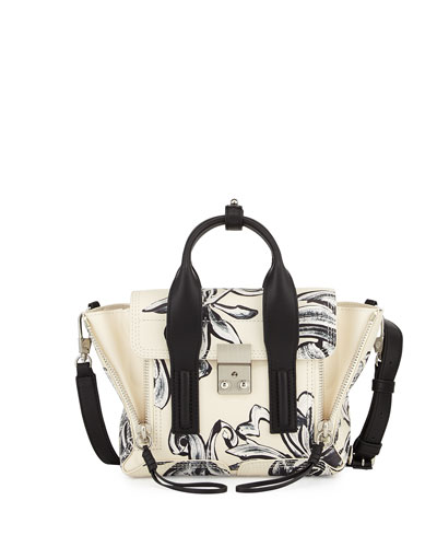 Pashli Mini Floral-Print Satchel Bag, Off White/Black