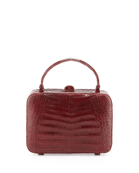 Crocodile Box Crossbody Bag, Red Shiny