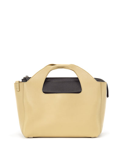 Two for One 10th Leather Tote Bag, Caramel/Black