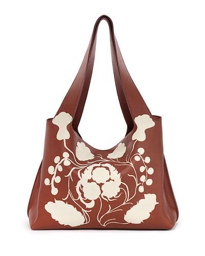 Duplex Printed Leather Shoulder Bag, Sienna/White