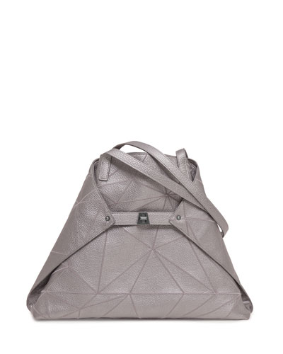 Ai Medium Embroidered Shoulder Bag, Gray