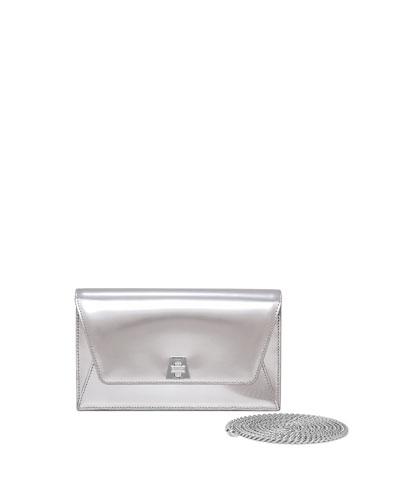 Anouk Mini Chain Envelope Clutch Bag, Silver