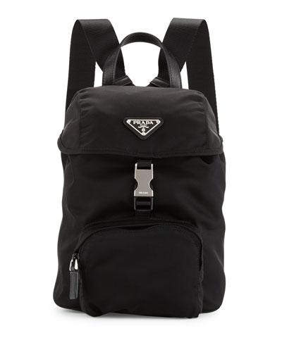 prada purse black leather - PRADA Black Quilted Tessuto Nylon Small Backpack