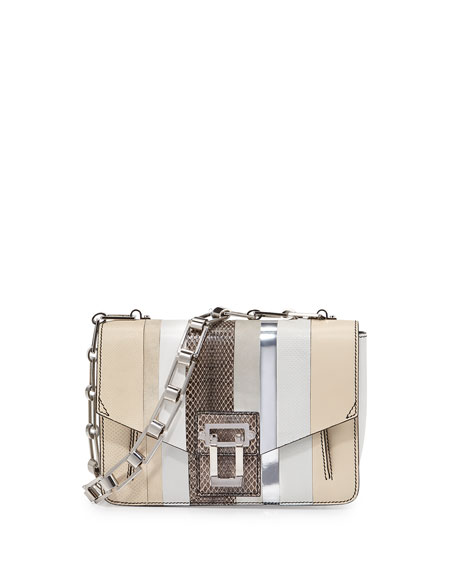 Hava Exotic Chain-Strap Shoulder Bag, White/Multi