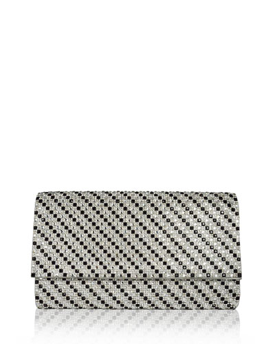 Manhattan East-West Crystal Clutch Bag, Jet/Rhinestone