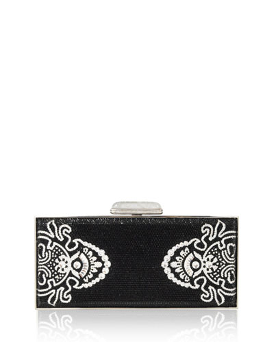 Avalon Large Coffered Rectangle Crystal Clutch Bag, Jet/Multi