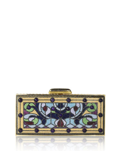 Harmonia Coffered Crystal Rectangle Clutch Bag, Champagne/Multi