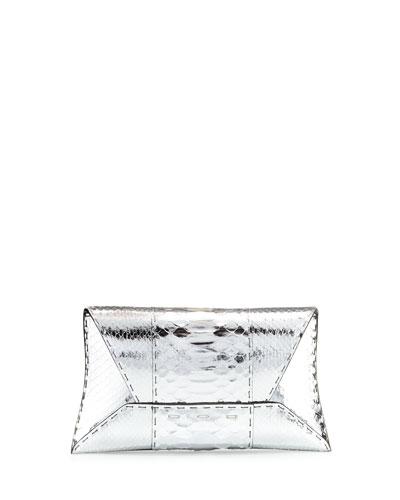 Manila Metallic Python Clutch Bag, Silver