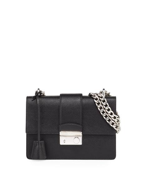 New Chain Saffiano Shoulder Bag, Black