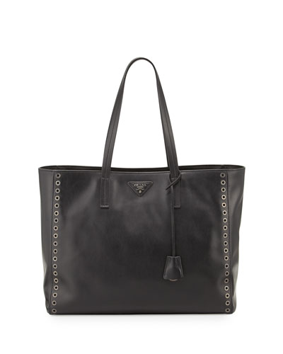 Grommet-Studded Leather Shopper Tote Bag, Black (Nero)