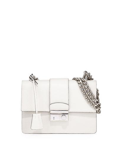 New Chain Saffiano Shoulder Bag, Talco