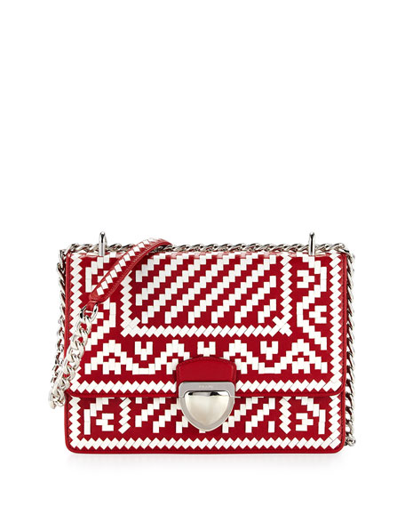 4863139180 Prada Woven Madras-Pattern Shoulder Bag