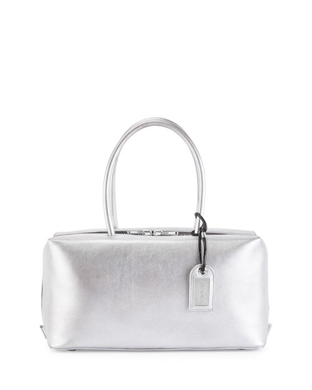 Samantha Medium Metallic Leather Tote Bag, Silver