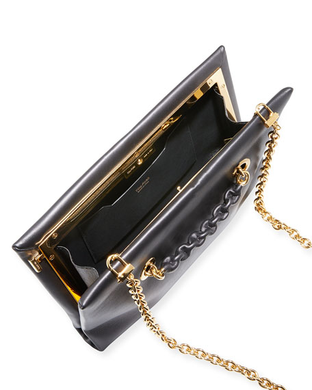 Large Chain Leather Clutch Bag