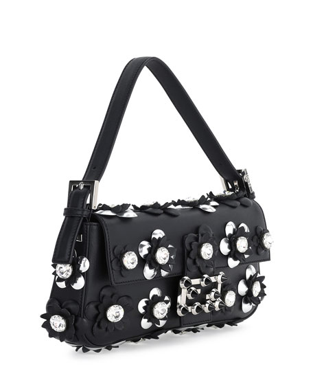 Baguette Flower-Embellished Shoulder Bag, Black/Silver