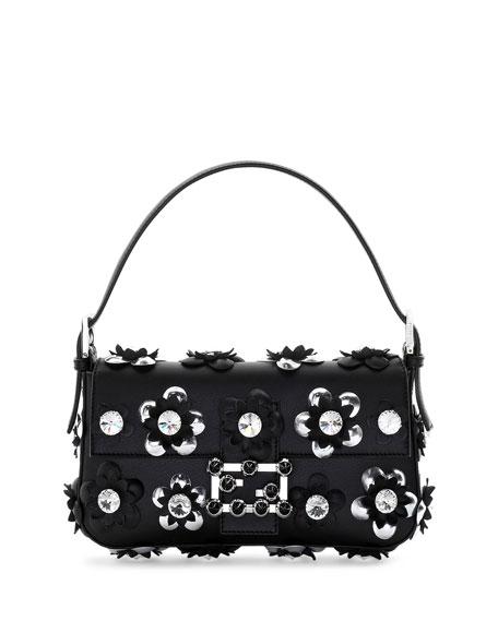 Baguette Flower-Embellished Shoulder Bag, Black/Silver