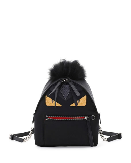 Large Monster Backpack with Fur, Black/Sunflower