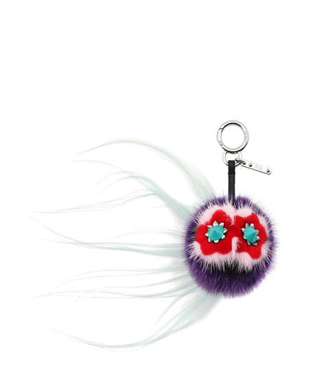 Bug Monster Fur Key Chain, Purple/Water/Multi