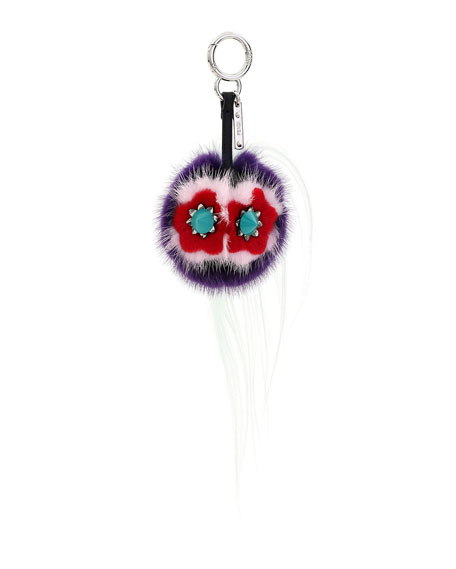 Fendi Bug Monster Fur Key Chain, Purple/Water/Multi
