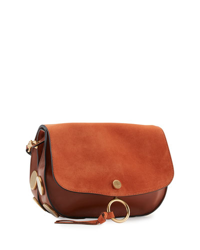 Kurtis Suede & Leather Shoulder Bag, Tobacco