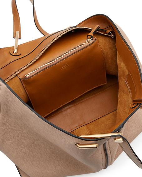 Keri Medium Grained Leather Tote Bag, Pearl Beige