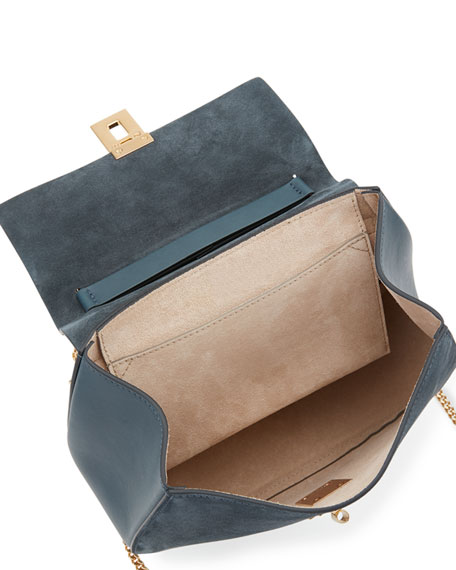 Drew Small Chain Saddle Bag, Silver Blue