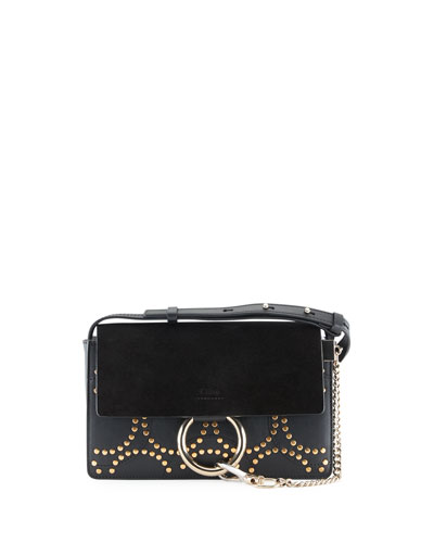 Faye Small Studded Circles Shoulder Bag, Black