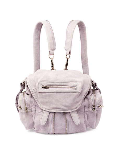 Marti Mini Tumbled Leather Backpack, Lavender
