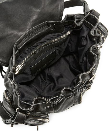 Marti Mini Crackled Lambskin Backpack, Black/White
