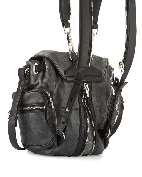Marti Mini Crackled Lambskin Backpack, Black/White
