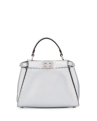 Peekaboo Small Leather Satchel Bag, Silver
