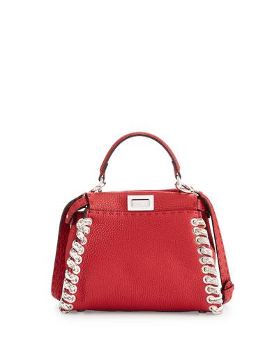 Selleria Peekaboo Mini Whipstitch Satchel Bag, Red/White