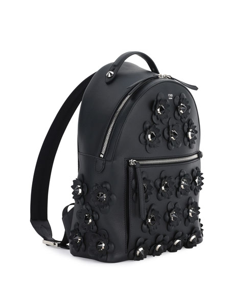Leather Backpack w/Allover Floral Appliques, Black