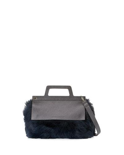 Flap-Top Shearling Fur Crossbody Bag, Navy