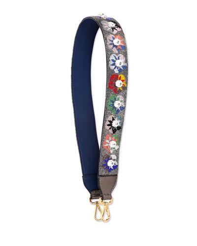 Beaded Flower Shoulder Strap for Handbag, Multi