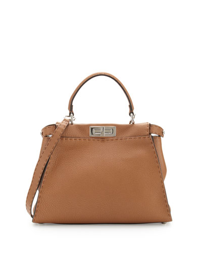 Peekaboo Medium Satchel Bag, Toffee