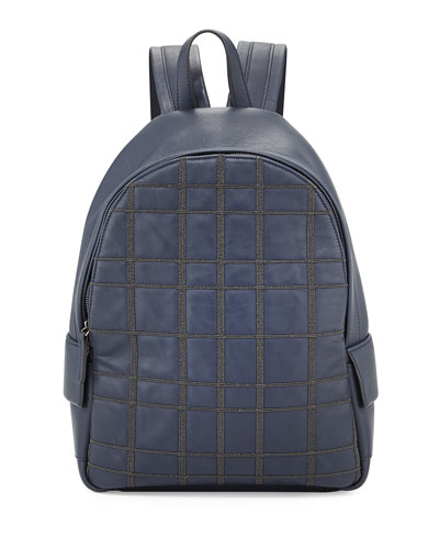 Monili Plaid Leather Backpack, Navy