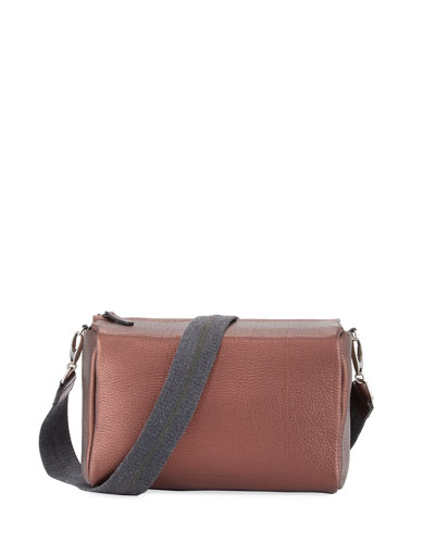 Pebbled Leather Crossbody Bag, Bordeaux