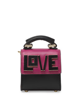 Nano Alex Black Widow Top Handle Charm Bag, Black/Fuchsia